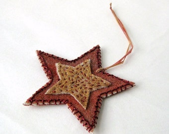 Rustic star decor felted red gold country Danish Christmas (s)