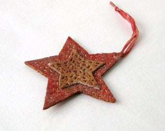 Ornament country star recycled felt rustic red Christmas (s)