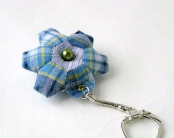 Keyring hexagon mini recycled handmade