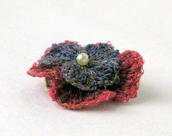 Brooch fiber art unique blue red Danish