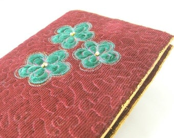 Book sleeve brown quilted green velvet flowers