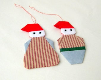 Santa Christmas ornament patchwork shabby chic country