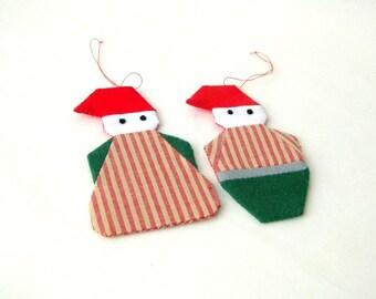 Christmas ornament santa pixies unique recycled
