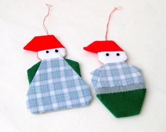 Christmas ornament Santa handsewn shabby chic recycled