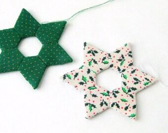 Star handsewn Christmas ornaments modern white green