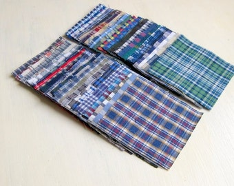 3'x3' recycled cotton squares chekered shirt fabric