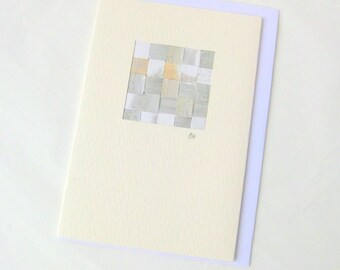 Card woven silver mini picture blank