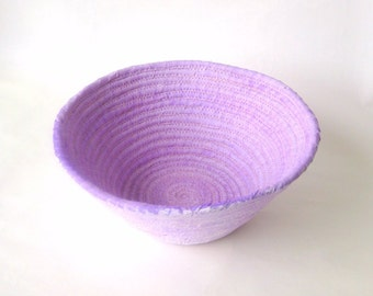 Coiled basket handmade pale lavender rustic