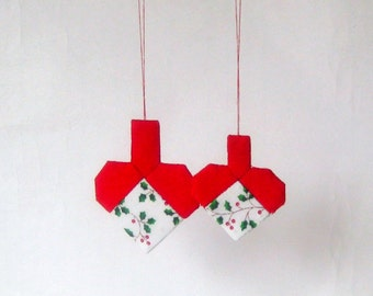 2 Christmas hearts ornaments patchwork c