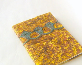 Journal cover fiberart  textured quilted yellow blue OOAK