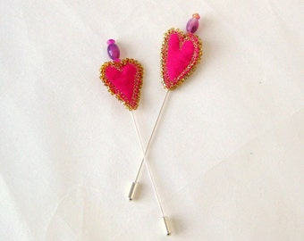 Hat shawl pin beaded pink fabric heart 4 inch Danish