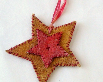 Small felted country star Christmas ornament painted embroidered