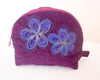 Pouch cosmetic zipper purple applique blue velvet