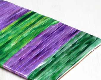 Ribbon hand dyed green purple bright