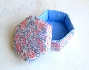 Lidded box floral fabric dusty blue hexagonal s