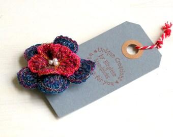 Brooch fiber art flower navy blue red