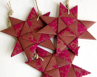 Star x1, hand folded, textured paper ornament, brown/purple, Christmas