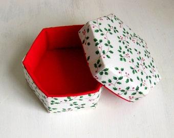 Handmade box lidded hexagonal white green fabric Christmas L