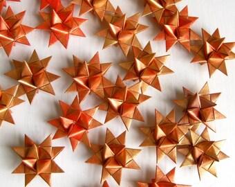 3 Stars origami paper golden red Scandinavian Christmas