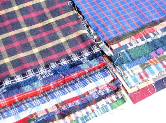 6' x 6' recycled plaid cotton shirt quilting 25 squares