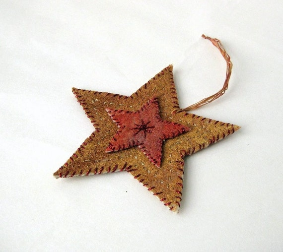 Ornament star felted country style embroidered Christmas