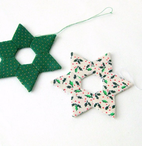 Star handsewn Christmas ornaments modern white green