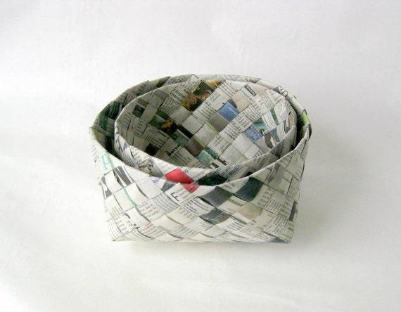 Basket recycled Danish newspaper plaited woven L