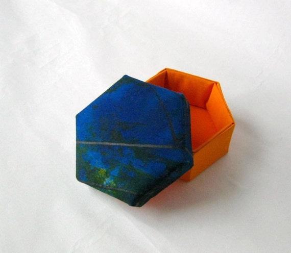 Box fabric blue orange hexagonal modern