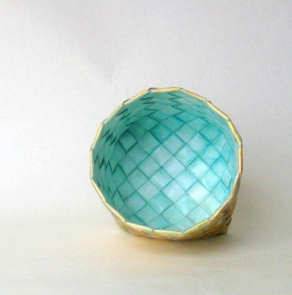 Basket aqua medium tall plaited turquoise unique
