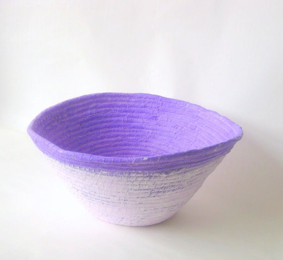 Coiled basket handmade lavender rustic large