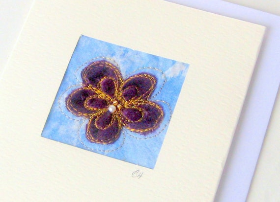 Card velvet purple flower handmade