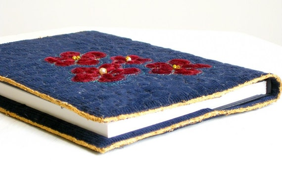 Journal cover navy blue quilted red applique flowers