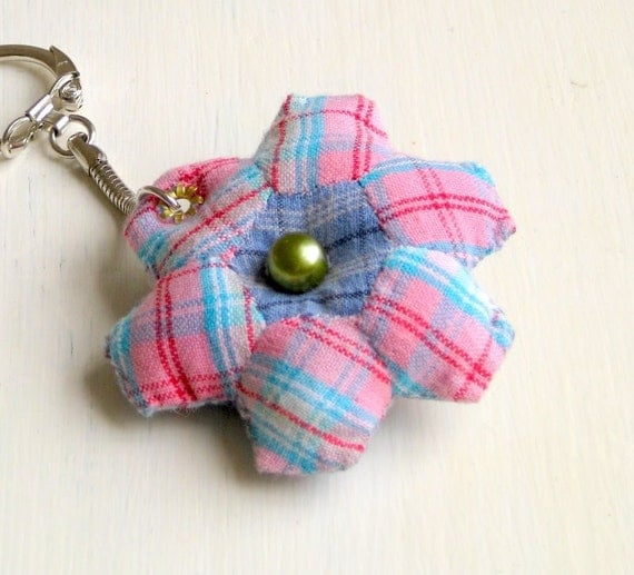 Keyring mini hexagon patchwork handsewn recycled fabric