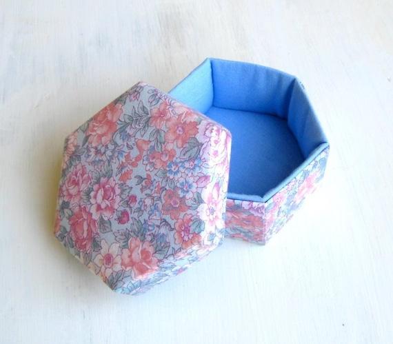 Lidded box floral fabric dusty blue hexagonal