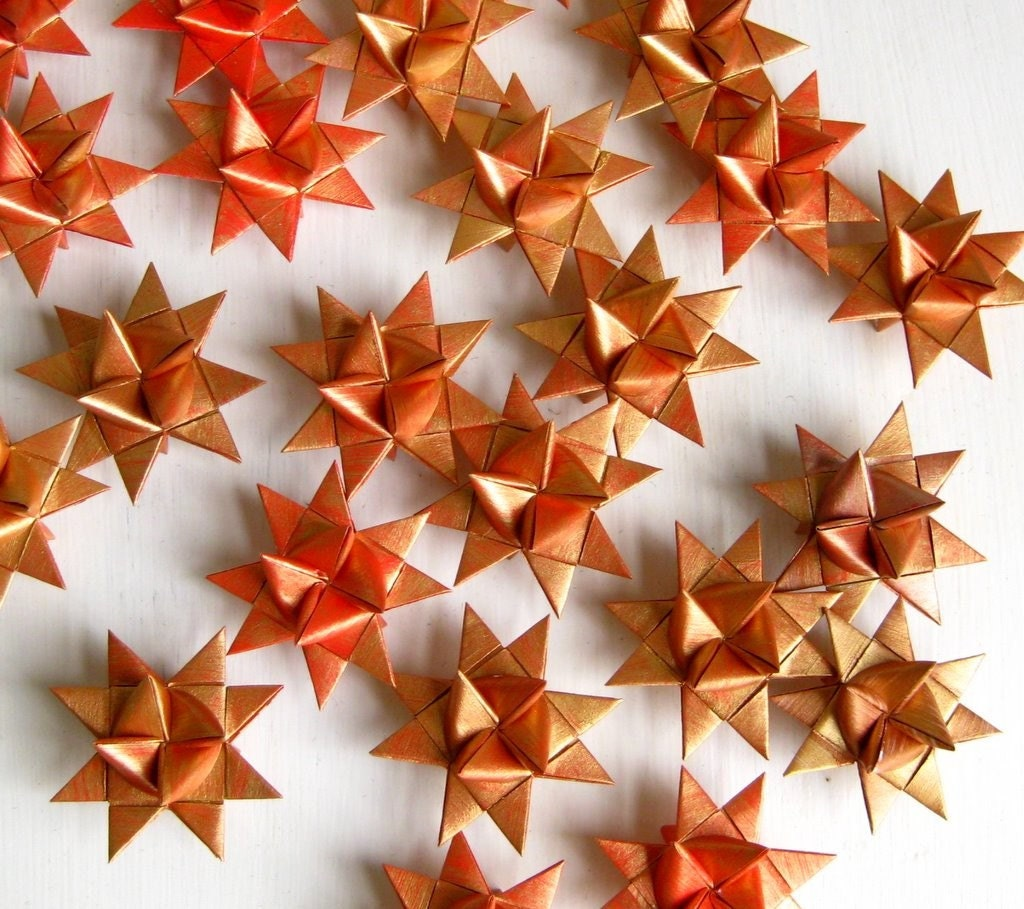 3 Stars Origami Paper Golden Red Scandinavian Christmas