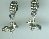 Sterling Silver CORGI DOG Bead Charm for Trollbead, European and All Name Brand Add a Bead Bracelets- 3d Mini