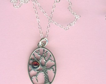 Sterling TREE OF LIFE with Gemstone Garnet Necklace- Sterling Chain Included