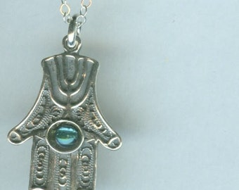 Sterling HAMSA with AQUA AURA Pendant and Chain