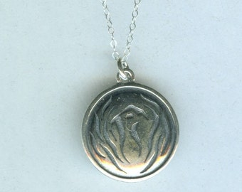 Sterling PHOENIX RISING From Flames Pendant and Chain - Heavy - Rebirth