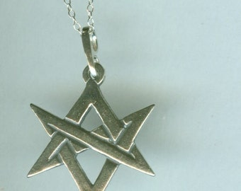 Sterling UNICURSAL HEXAGRAM Pendant AND Chain