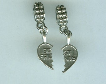 Sterling BEST FRIENDS Bead Charms for  all Name Brand Add a Bead Bracelets