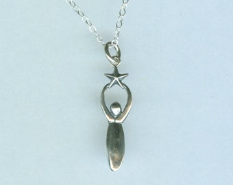 Sterling STAR GODDESS Pendant AND Chain - Necklace