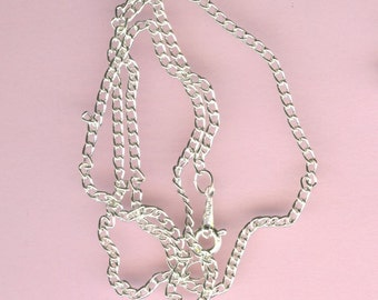 Silver Neck Chains -  18 Inch Heavy Curb Chain - Package of 20 - 1.7mm