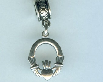Sterling CLADDAGH Bead Charm for All Name Brand Add a Bead Bracelets