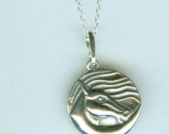 Sterling WIND  HORSE Pendant AND Chain - Equestrian - Stunning - Whoa Team