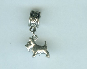 Sterling SCOTTISH TERRIER, SCOTTY Dog Bead Charm for all Name Brand Add a Bead Bracelets-3D