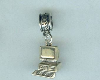 Sterling COMPUTER Bead Charm for all Name Brand Add a Bead charm Bracelet