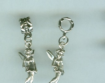Sterling TINKERBELL Fairy Bead Charm for All Name Brand Add a Bead Charm Bracelets - 3 Dimensional