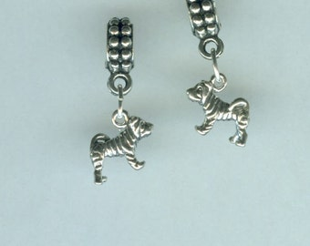 Sterling SHARPEI Dog Bead Charm for Trollbead, European and all Name Brand Add a Bead Bracelets- 3 Dimensional