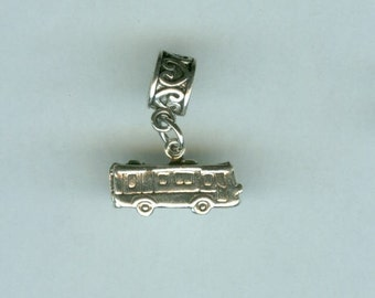 Sterling RV MOTOR HOME Bead Charm for Trollbead, European and All Name Brand Add a Bead Bracelets- 3D Heavy